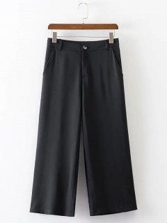 Cropped Wide Leg High Waist Pants - Black M