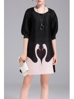 Pleated Swan Print A Line Dress - Black