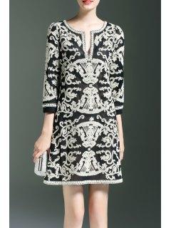 V Neck Embroidered Slit A Line Dress - Black S