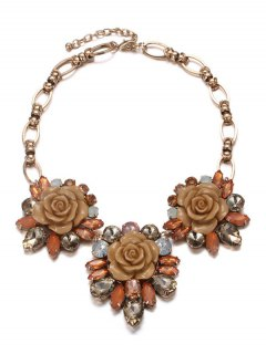 Enamel Faux Crystal Flower Necklace - Coffee