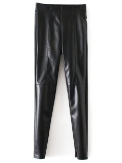 Skinny PU Leather Narrow Feet Pants - Black L
