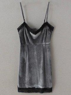 Lace Panel Pleuche Mini Cami Dress - Gray S