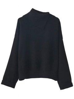 Asymmetric Neck Pullover Jumper - Black