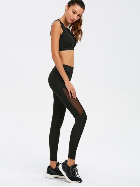online See-Through Mesh Spliced Skinny Sport Suit - BLACK M Mobile
