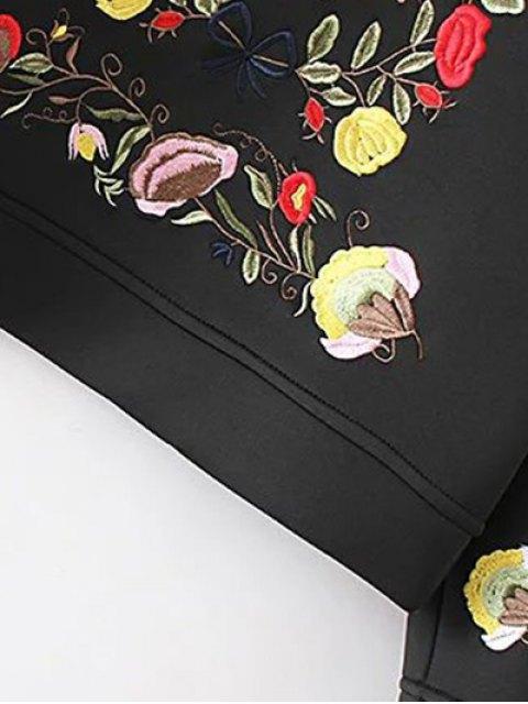 affordable Long Sleeve Flower Embroidered Sweatshirt - BLACK M Mobile