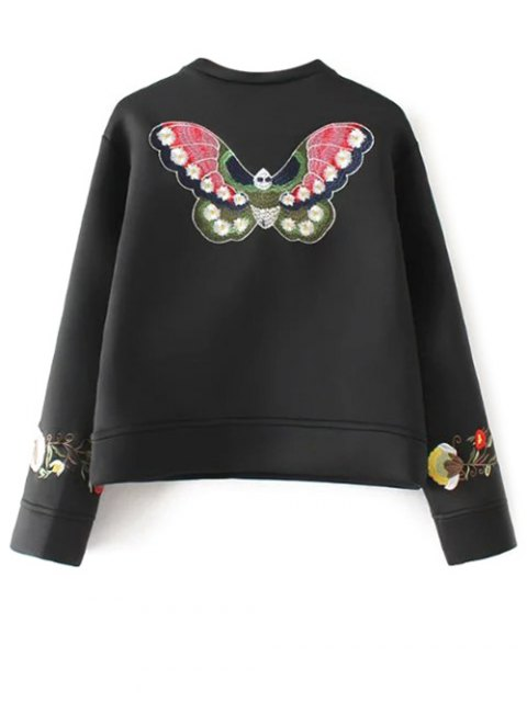 buy Long Sleeve Flower Embroidered Sweatshirt - BLACK S Mobile
