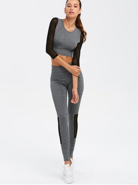 womens Mesh Spliced Skinny Sport Suit - GRAY M Mobile