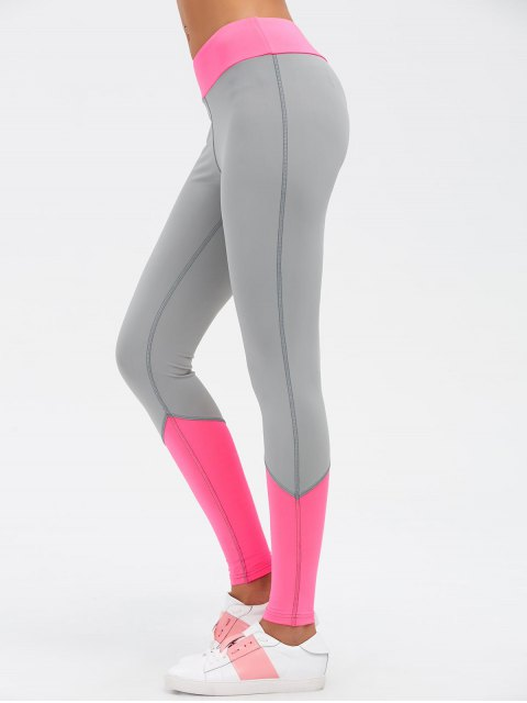 new Color Block High Waist Skinny Yoga Leggings - ROSE RED M Mobile