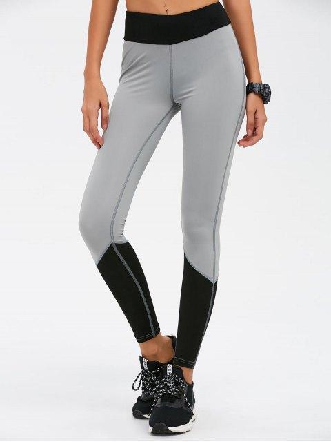 outfits Color Block High Waist Skinny Yoga Leggings - BLACK M Mobile