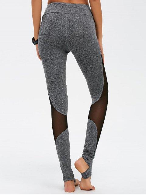 trendy Mesh Spliced High Waist Skinny Yoga Leggings - GRAY S Mobile