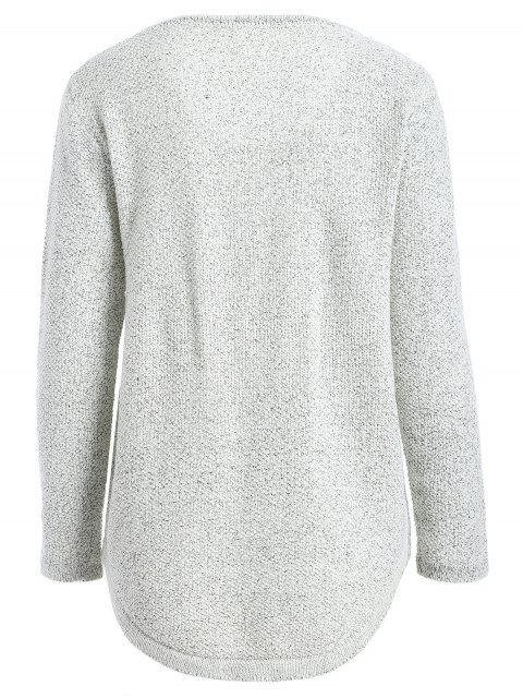 ladies Star Letter Pattern Sweater - GRAY ONE SIZE Mobile