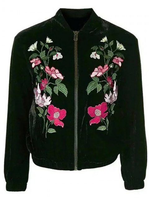 womens Flower Embroidered Velvet Jacket - BLACK S Mobile
