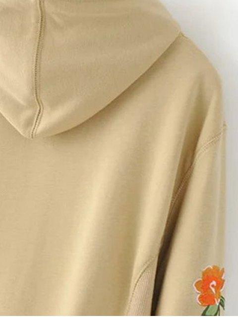 online Front Pocket Floral Embroidered Hoodie - BLACK S Mobile