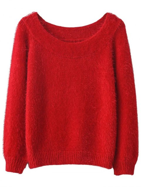 lady Off Shoulder Fluff Knitwear - RED ONE SIZE Mobile