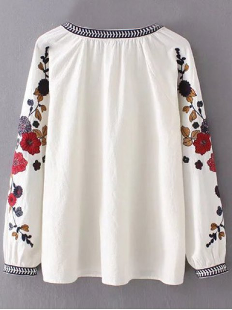 outfits Flower Embroidered Blouse - WHITE S Mobile