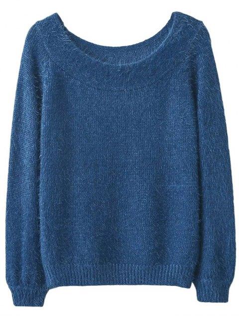 best Off Shoulder Fluff Knitwear - BLUE ONE SIZE Mobile