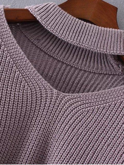 women Plus Size Cut Out Chuky Choker Sweater - LIGHT PURPLE ONE SIZE Mobile