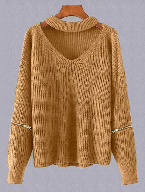 best Plus Size Cut Out Chuky Choker Sweater - EARTHY ONE SIZE Mobile