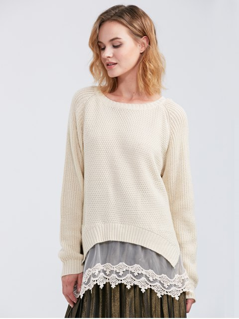 chic Raglan Sleeve Lace Panel Pullover Sweater - OFF-WHITE S Mobile