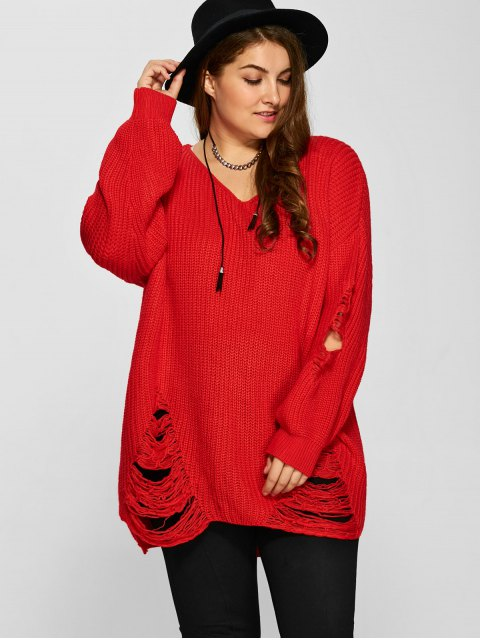 best Plus Size Distressed Longline Pullover Sweater - RED 4XL Mobile