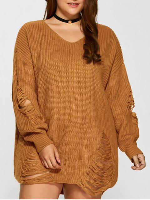 hot Plus Size Distressed Longline Pullover Sweater - EARTHY 3XL Mobile