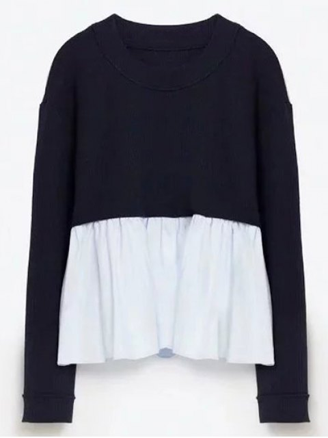 new Round Neck Ruffles Panel Sweater - PURPLISH BLUE M Mobile