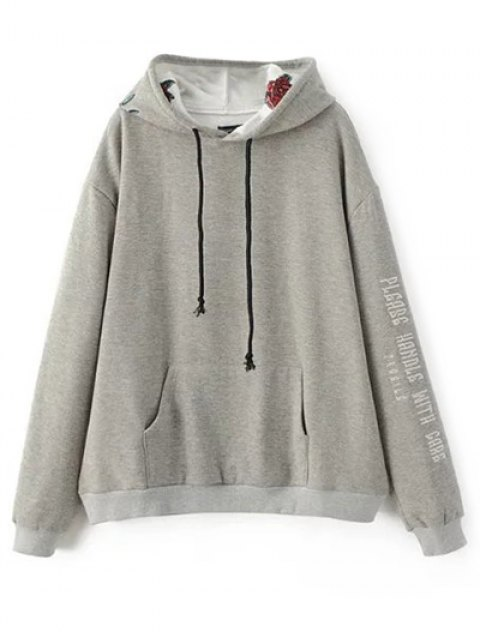 fancy Graphic Floral Embroidered Hoodie - GRAY M Mobile