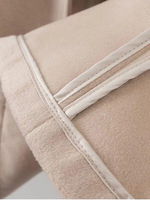 fashion Hooded Pockets Wool Blend Coat - BLACK S Mobile