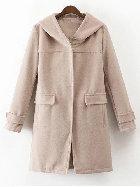 fancy Hooded Pockets Wool Blend Coat - APRICOT M Mobile