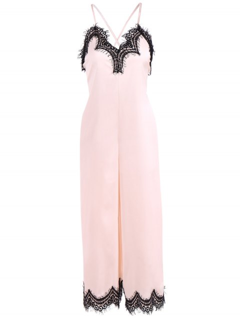 women Criss Back Lace Spliced Jumpsuit - PINKBEIGE XL Mobile