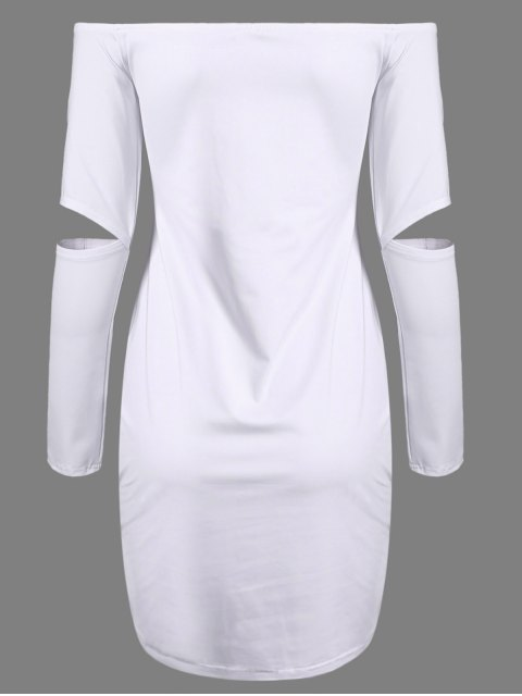 chic Off The Shoulder Long Sleeve Bodycon Dress - WHITE L Mobile