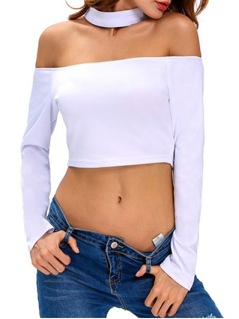ladies Cut Out Choker Crop Top - WHITE M Mobile