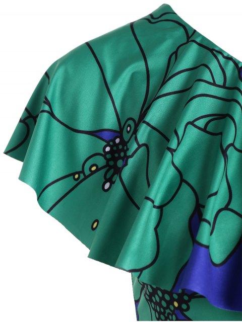 women's One Shoulder Floral Bodycon Dress - COLORMIX L Mobile
