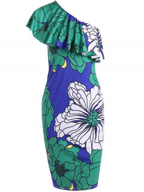 lady One Shoulder Floral Bodycon Dress - COLORMIX S Mobile