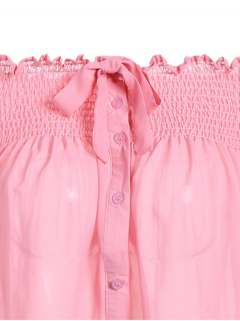latest Off The Shoulder Smock Top - PINK 2XL Mobile