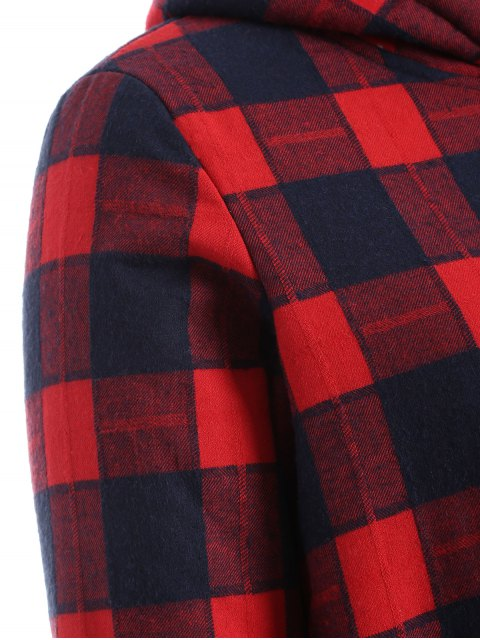 ladies Hooded Plus Size Plaid Fleeced Coat - RED XL Mobile