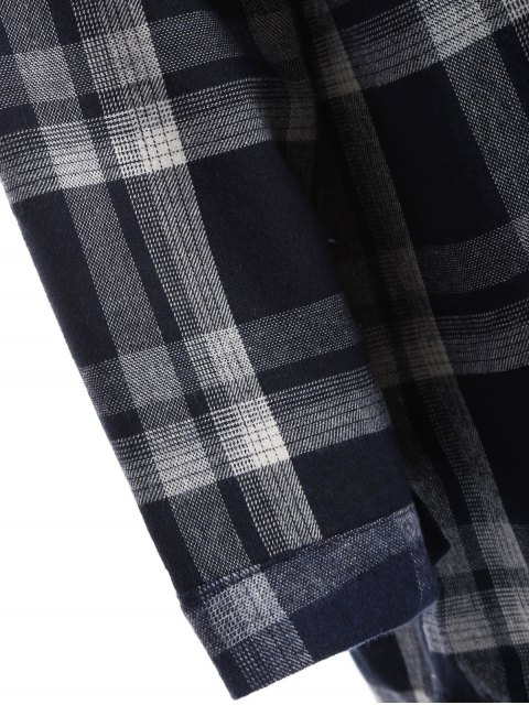 best Plus Size Plaid Fleece Lined Shirt - BLACK XL Mobile