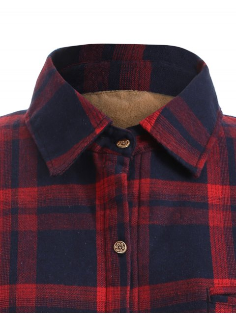 new Plus Size Plaid Fleece Lined Shirt - WINE RED 3XL Mobile