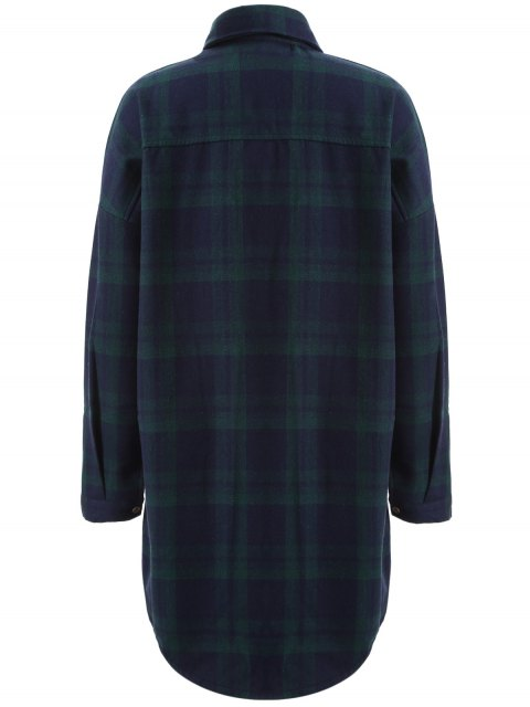 shops Plus Size Plaid Fleece Lined Shirt - GREEN 2XL Mobile