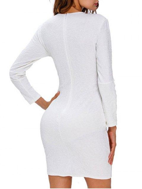 sale Plunge Neck Bodycon Strappy Dress - WHITE M Mobile