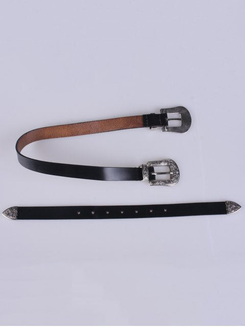 fashion Double Pin Buckle Belt - BLACK  Mobile
