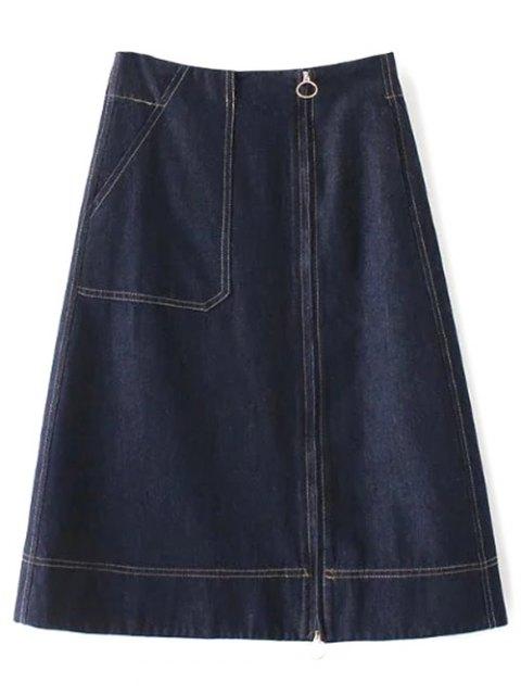 new Zippered A Line Jean Skirt - DEEP BLUE S Mobile