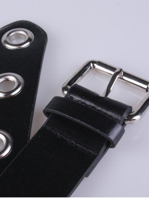 unique Hollow Iron Ring Rivet Belt - BLACK  Mobile