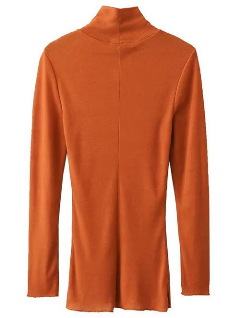outfits High Neck Long Sleeve Basic Tee - DEEP ORANGE S Mobile