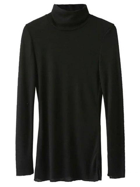 shop High Neck Long Sleeve Basic Tee - BLACK L Mobile