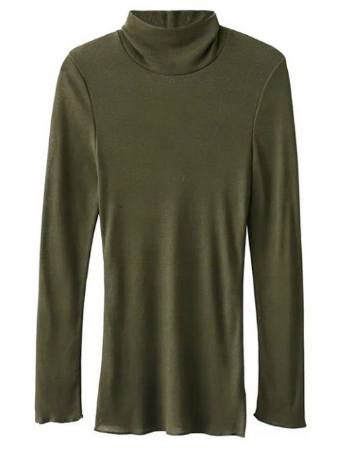 fancy High Neck Long Sleeve Basic Tee - ARMY GREEN L Mobile