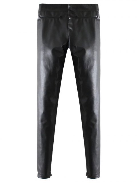 latest Skinny PU Leather Narrow Feet Pants - BLACK M Mobile