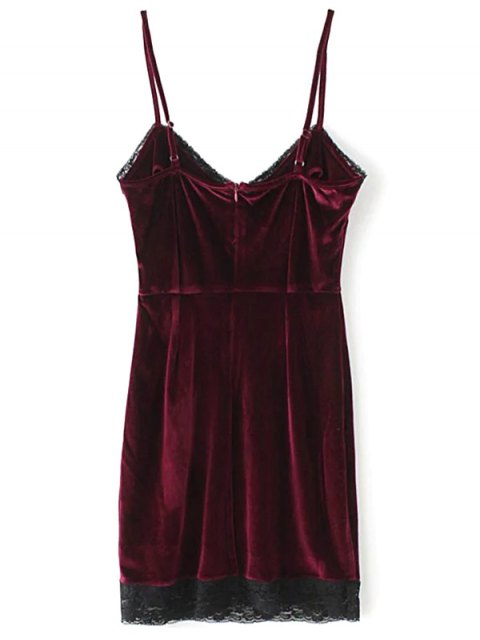 online Lace Panel Pleuche Mini Cami Dress - BURGUNDY M Mobile