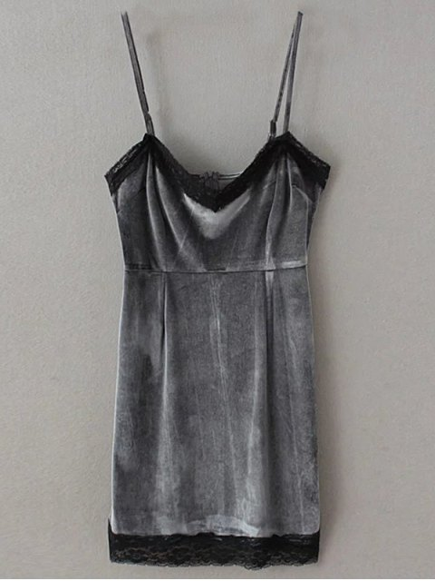 hot Lace Panel Pleuche Mini Cami Dress - GRAY L Mobile