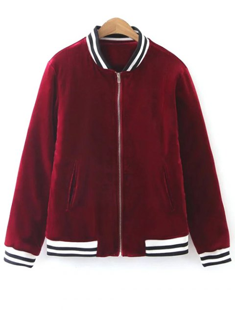 trendy Quilted Velvet Bomber Jacket - BURGUNDY M Mobile
